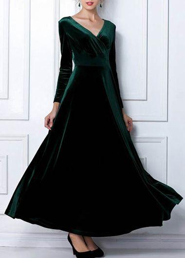 Alluring Velvet Long Sleeve High Waist Dress Green