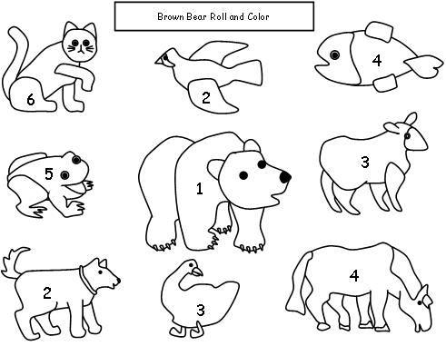 Brown Bear Brown Bear math dice game. Children roll the