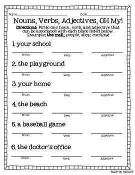 Nouns Verbs Adjectives Freebie Nouns Verbs Adjectives Nouns And Adjectives Adjectives Free printable verb worksheets for 5th