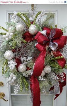 Greens, Silver Balls and Red Ribbon Pretty Wreath