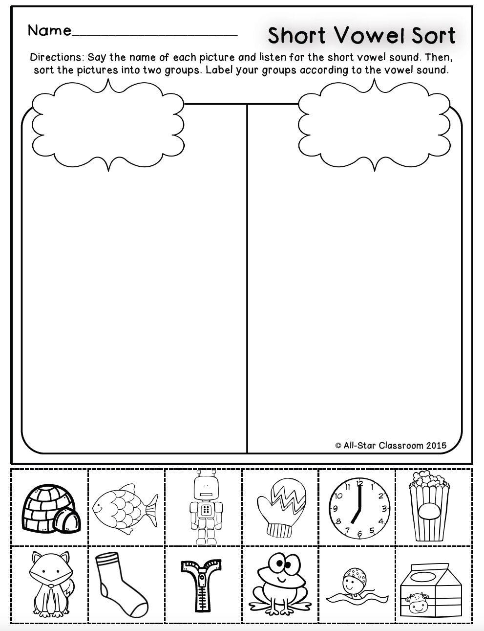 These Short Vowel Identification Printables And Sorts Are A Perfect Practice Or Assess Vowel Worksheets Kindergarten Worksheets Writing Worksheets Kindergarten
