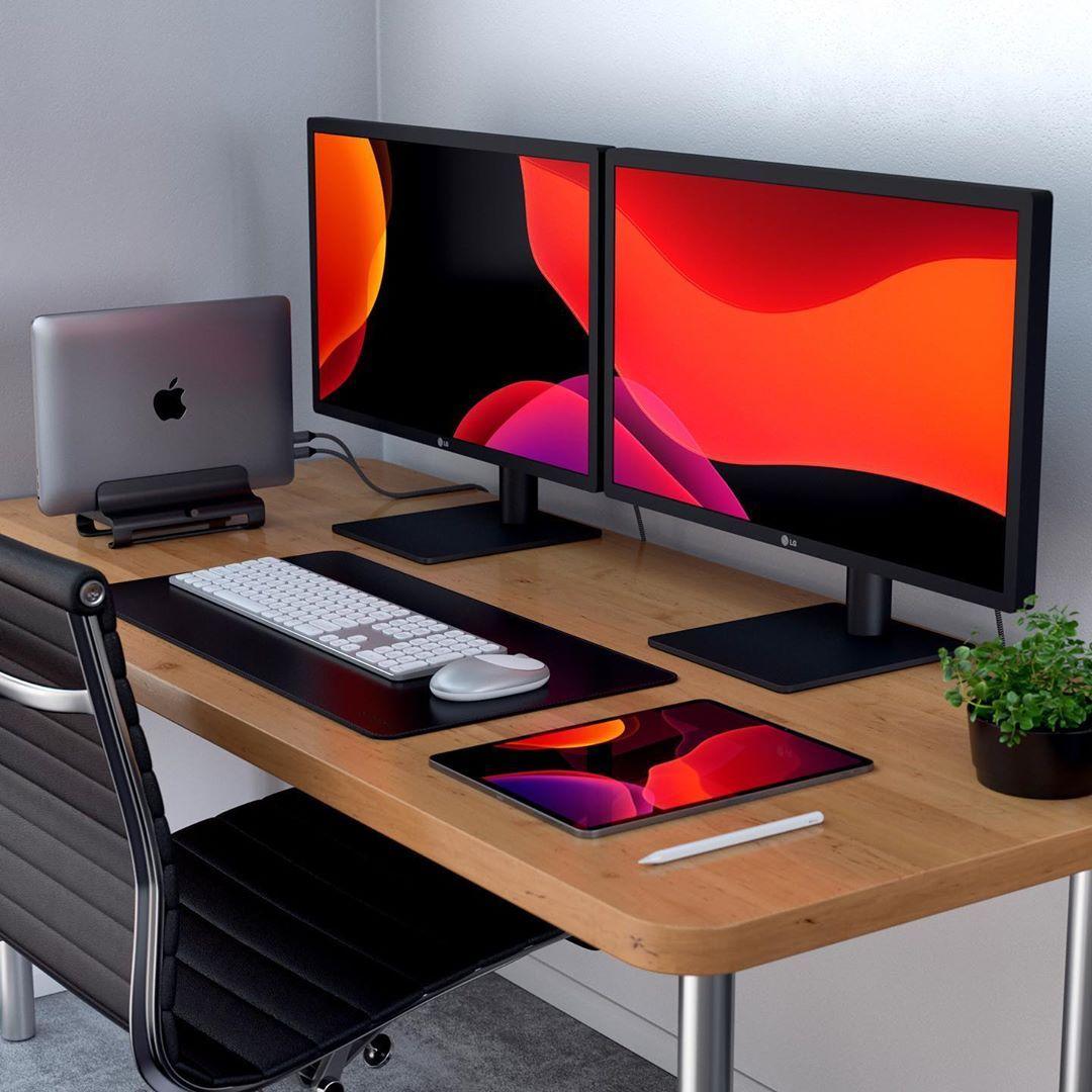 Homeoffice Best Interior Design: Setup MacBook Pro Dual Monitor ONE PIXEL UNLIMITED