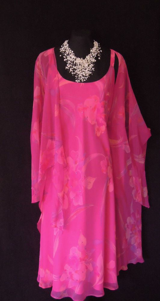 GINA BACCONI Wedding Outfit Size 18 Pink Dress Jacket Suit Ladies ...