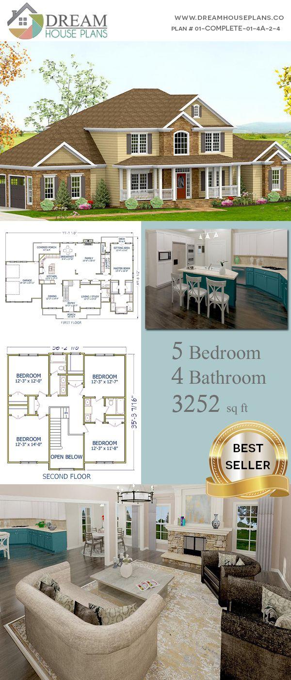 Dream house plans best craftsman bedroom sq ft home plan