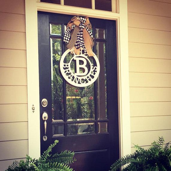 front door wreath 24 inch wooden circle monogram door hanger