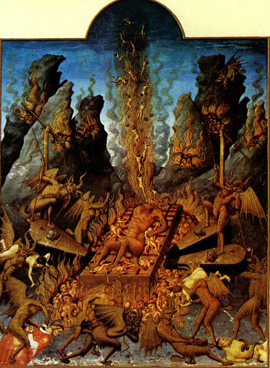 Medieval Art Hell illuminated hell scene...