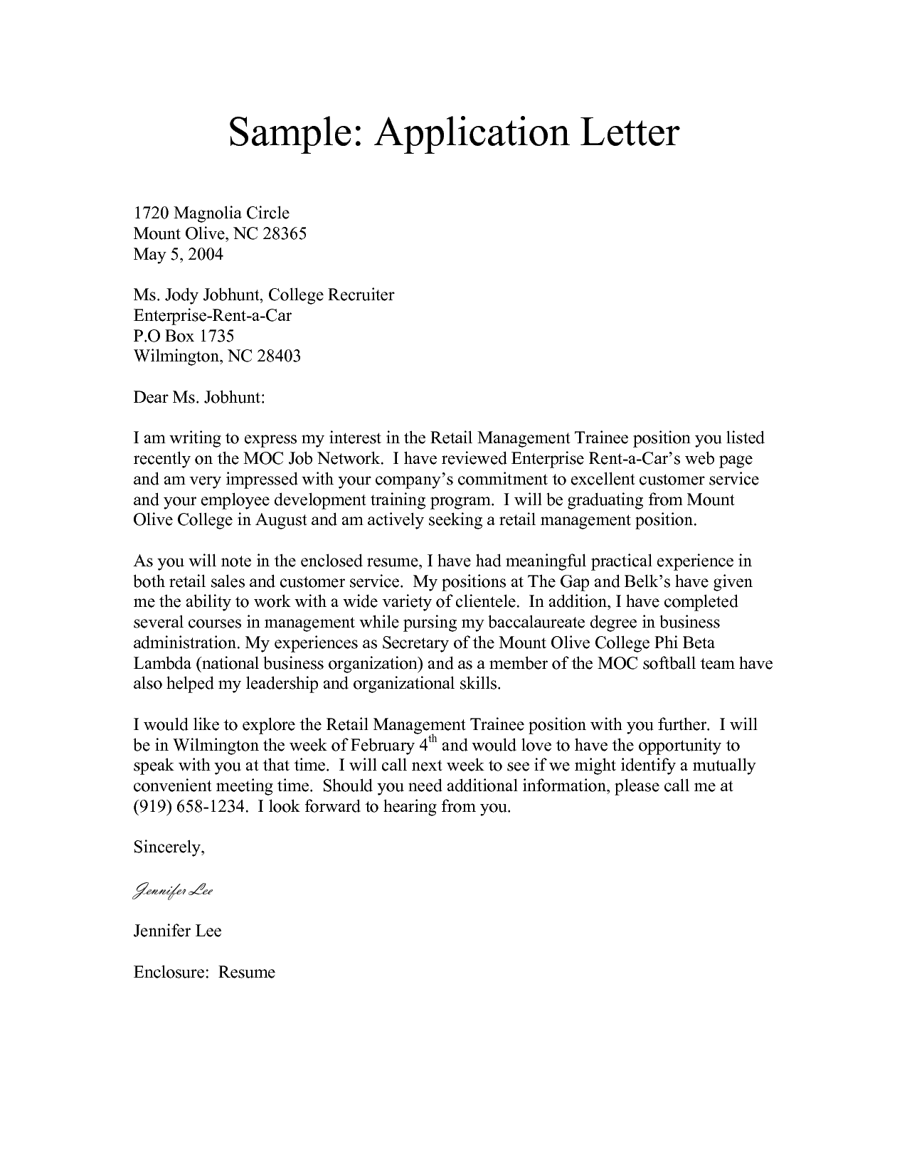 Letter For Application