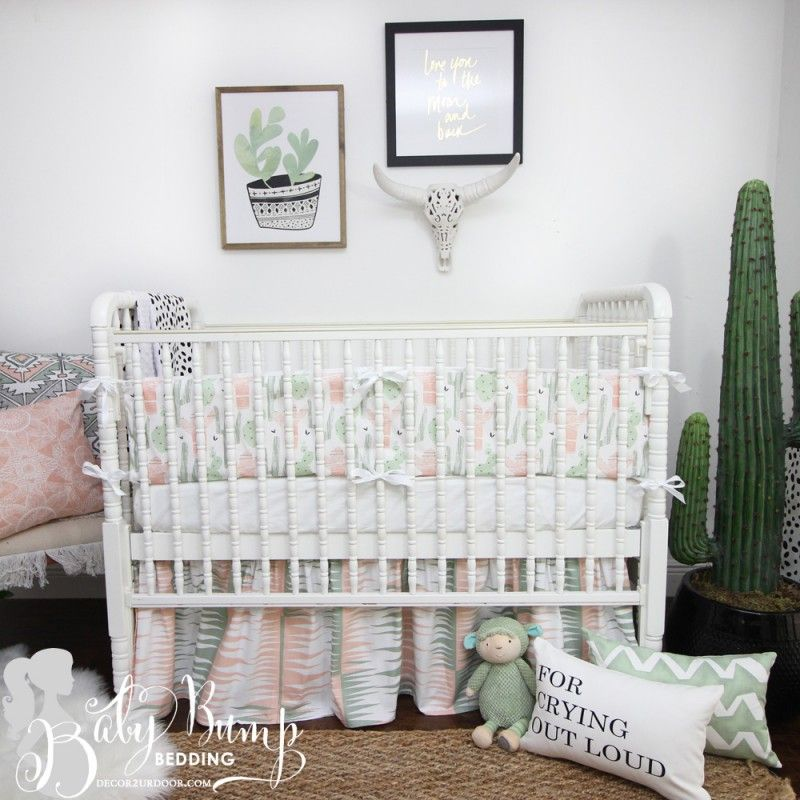 Peach Green Cactus Gender Neutral Crib Bedding Set With Images