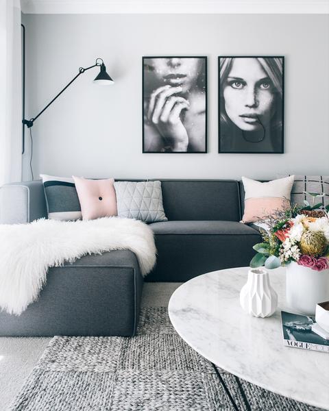 Stylist Spotlight The Home Of Tarina Lyell Dark Grey Couch Living Room Gray Sofa Living Grey Sofa Living Room