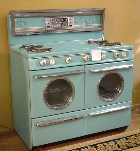 Robin's egg blue early 1950s Western Holly double oven gas range.