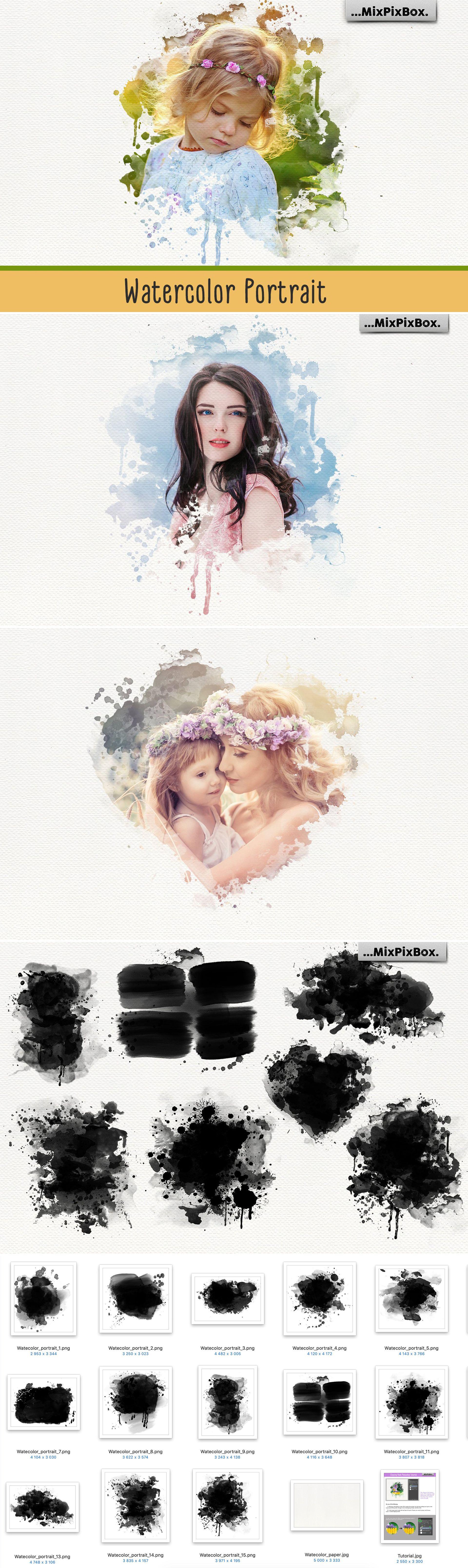 Watercolor Portrait Masks Photoshop Png Frames Clipart