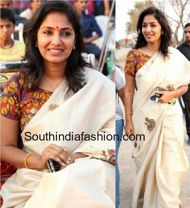 Wedding White Sarees Online: Plain Saree With Kalamkari Blouse