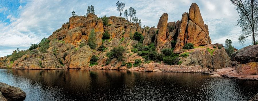 """Bear Gulch Reservoir Northshore Panorama by John Hight            The rocks on the north shore of Bear Gulch Reservoir in California's Pinnacles National Park are impressive as they shoot upward from the lake. You can see how the park got its name """"Pinnacles"""".http://jhp.photos.John Hight Photography...            John Hight: Photos                                 #nature #photography"""