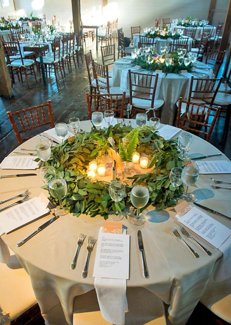 Wedding decor ideas simple   Simple Greenery Wedding Centerpieces Decor Ideas  Catering