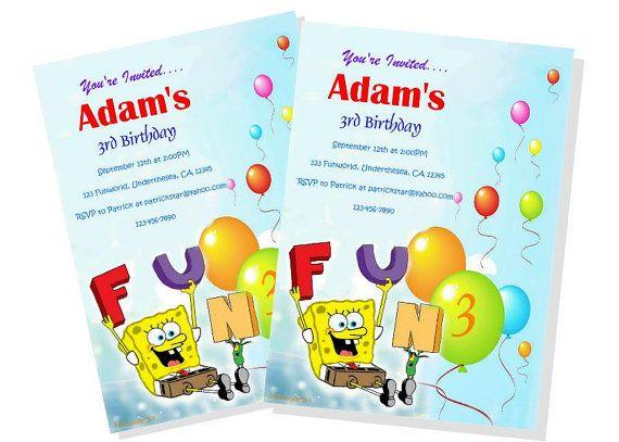 Personalized Spongebob Birthday Invitation Diy By Snpdesignsusa