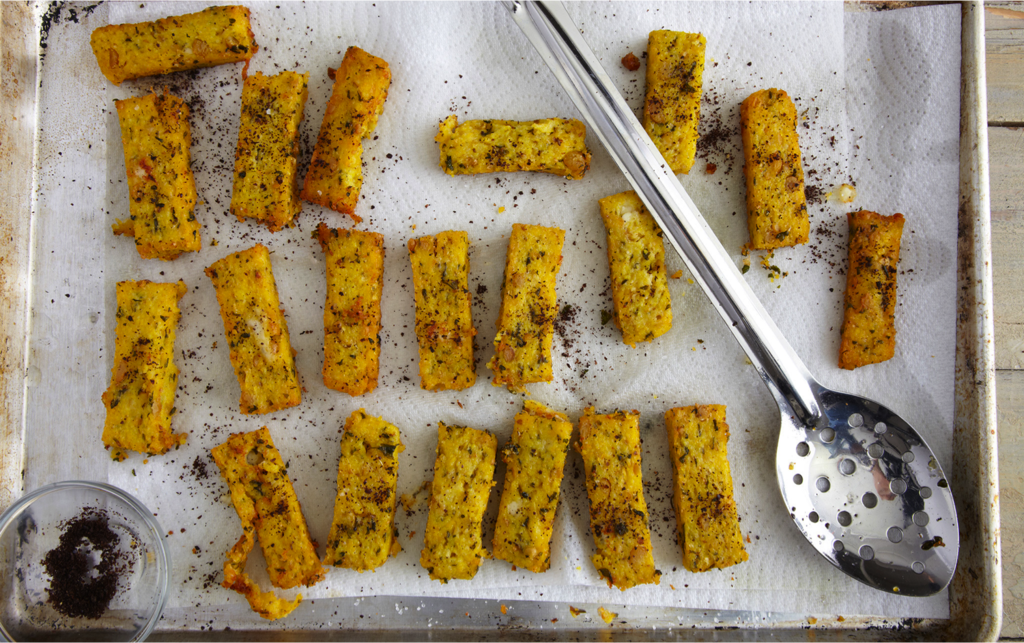 Chickpea Polenta Fries with Sumac and Feta