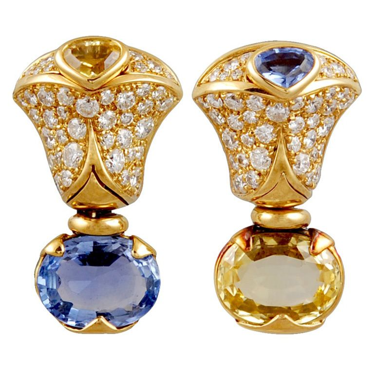 elizabeth oval ceylon earrings yellow sapphire white products gold