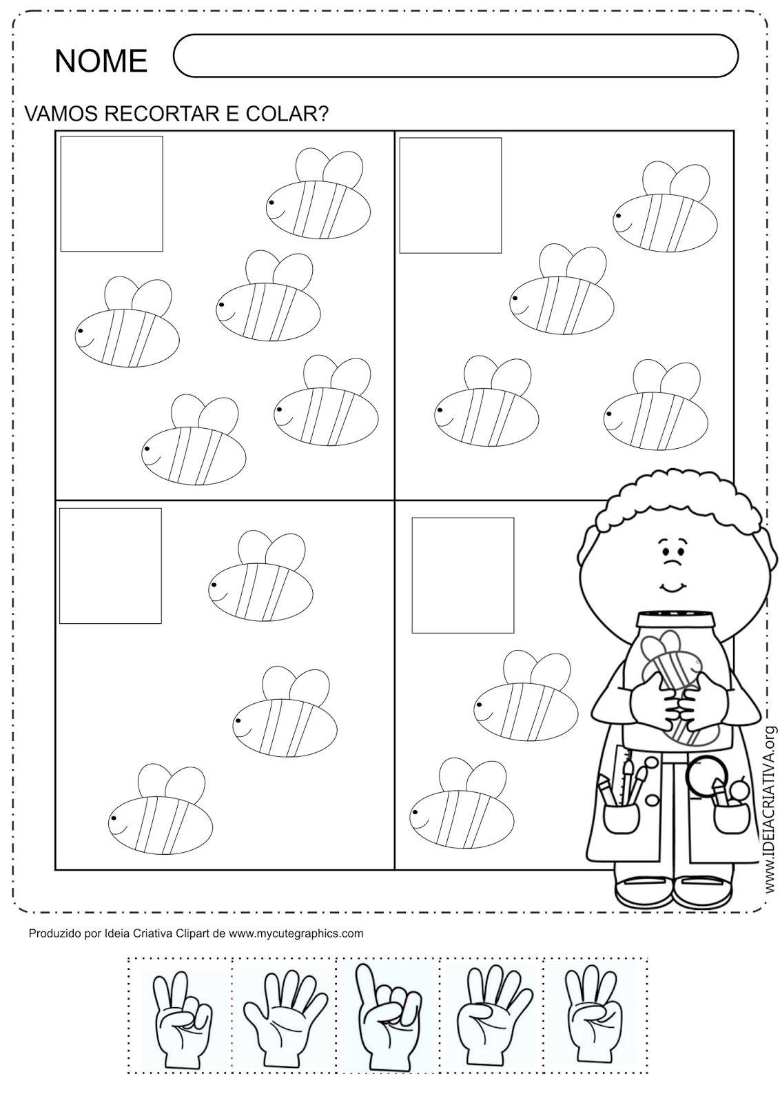 Atividade Recorte Colagem Abelha e mãozinhas | math | Pinterest ...