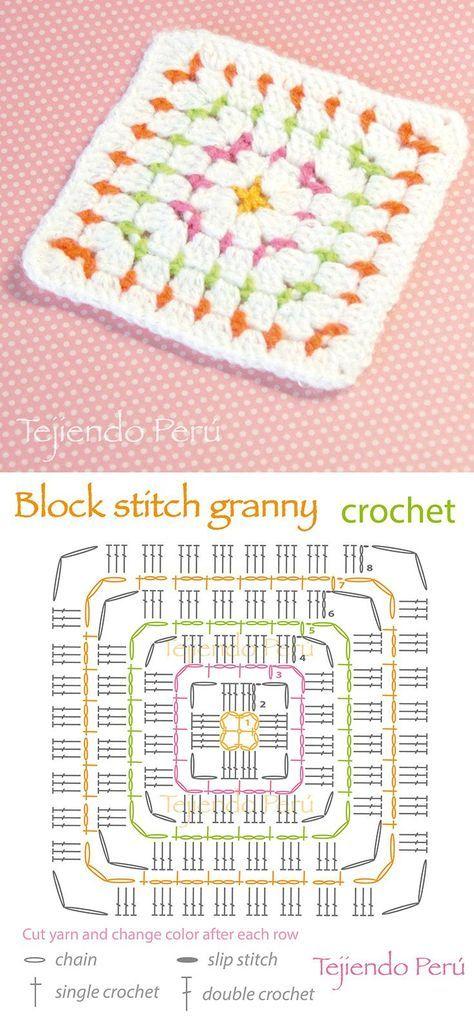 Block Stitch Granny Crochet Square | Pinterest | Cuadrados de la ...