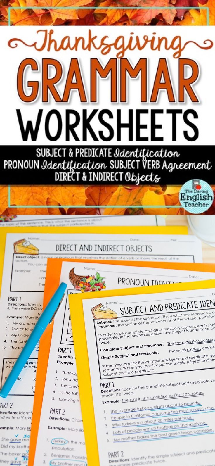 Thanksgiving Grammar Worksheets No Prep Easy Sub Plans