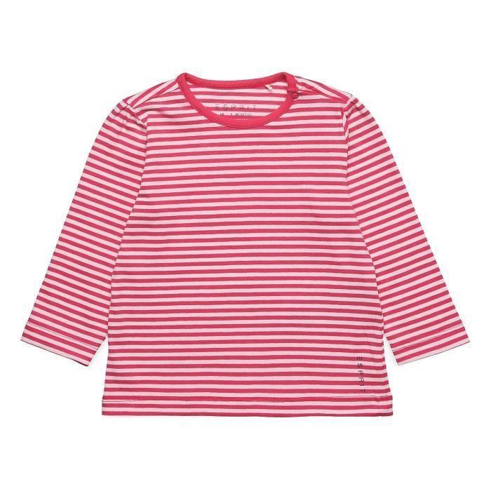 ESPRIT T-Shirt Rayé Rose et Blanc Bébé Fille