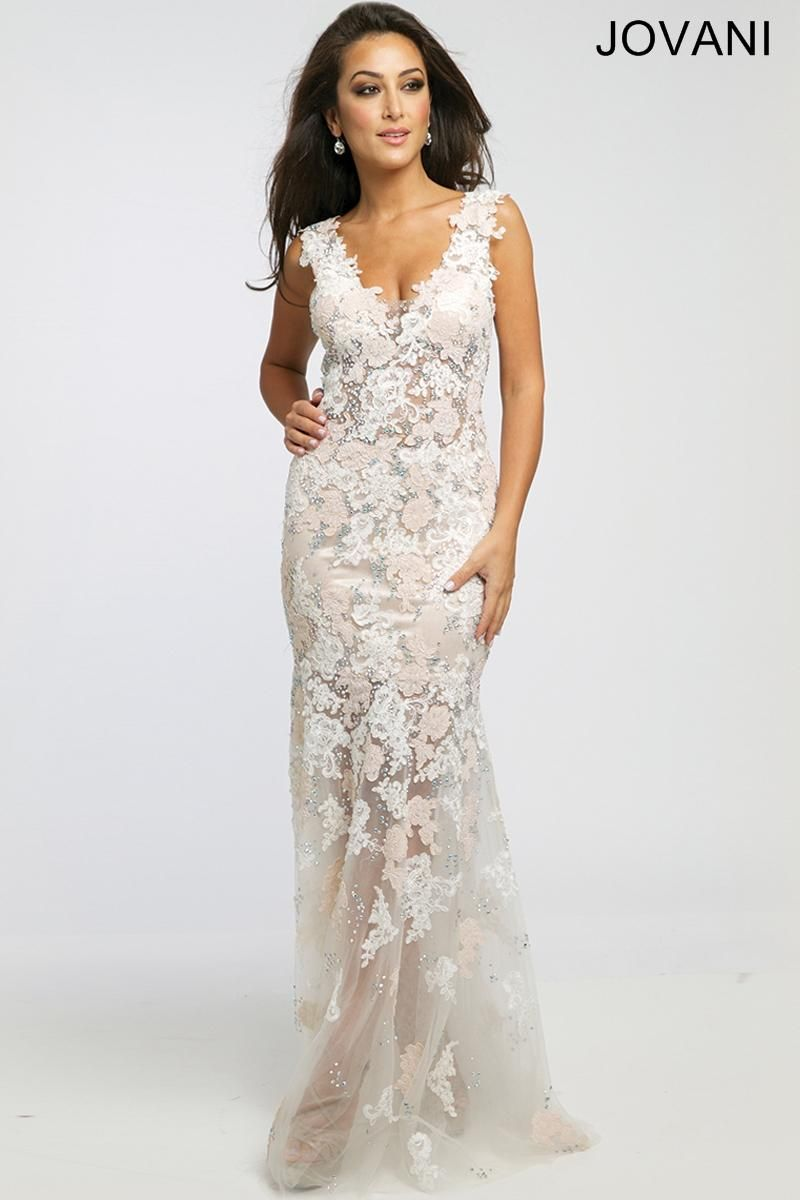 Jovani Prom 24285. Informal wedding gown. Lace whit dress ...