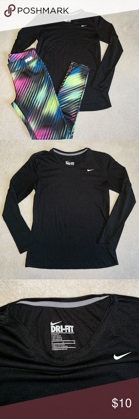 """Nike Dri-fit Womens Long Sleeve Shirt Color: black Fit: """"regular fit"""" Type: Nike Dri-fit, long sleeve  Condition: pre-loved, no stains/pilling/holes Material: 100% polyester Always feel free to make an offer! I will also discount bundles of 2+ items 😁 Nike Tops Tees - Long Sleeve"""