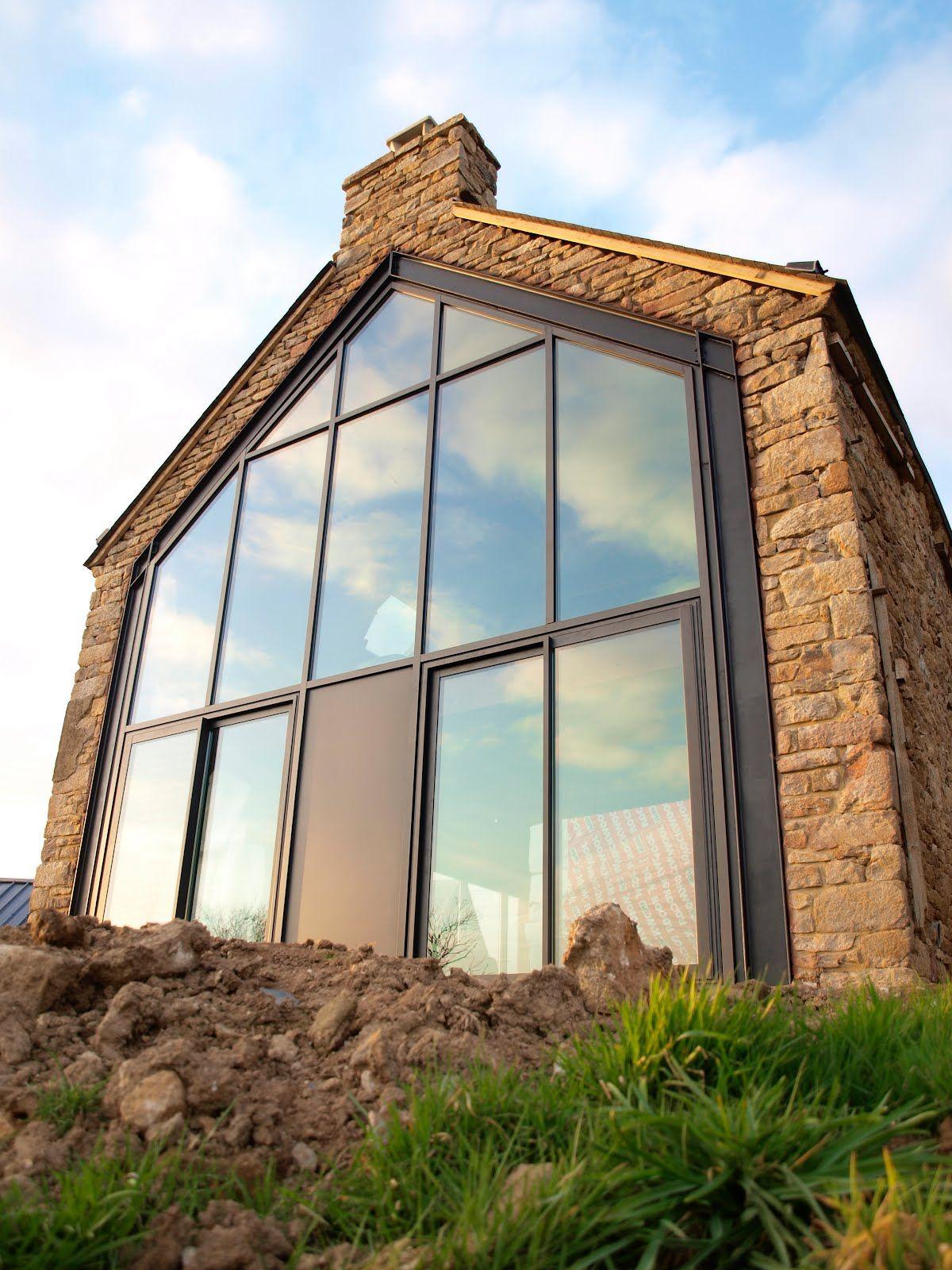 grande baie vitr e toit ou plancher ouvert pinterest r novation verri re et long re. Black Bedroom Furniture Sets. Home Design Ideas