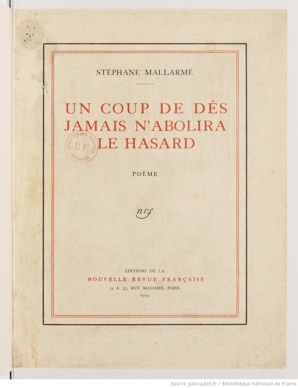 Un Coup De Dés Jamais N Abolira Le Hazard Mallarmé Le Hasard Bibliotheque Nationale De France