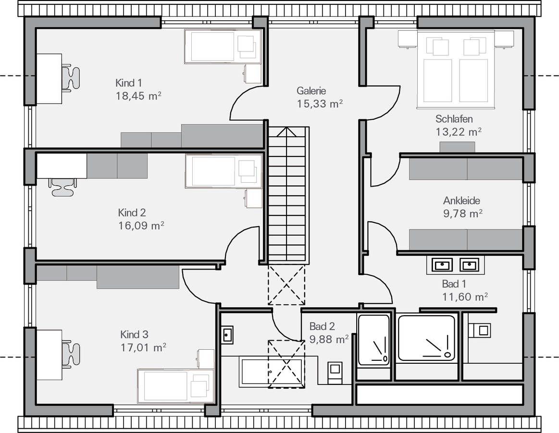 Hausgalerie Detailansicht  Haus grundriss, Baumeister haus