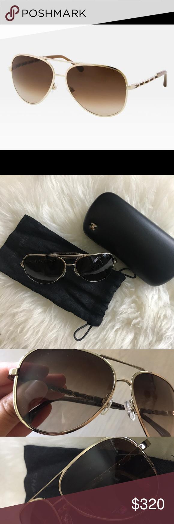 8b4806ae0ce6 Chanel chain aviator sunglasses brown gold 4194Q 100% authentic Chanel  classic chain aviator sunglasses!