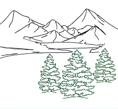 embroidery design fir tree trio outline mountain landscape redwork Norway Mountains embroidery design fir tree trio outline mountain landscape redwork for tote bag pillow room deco