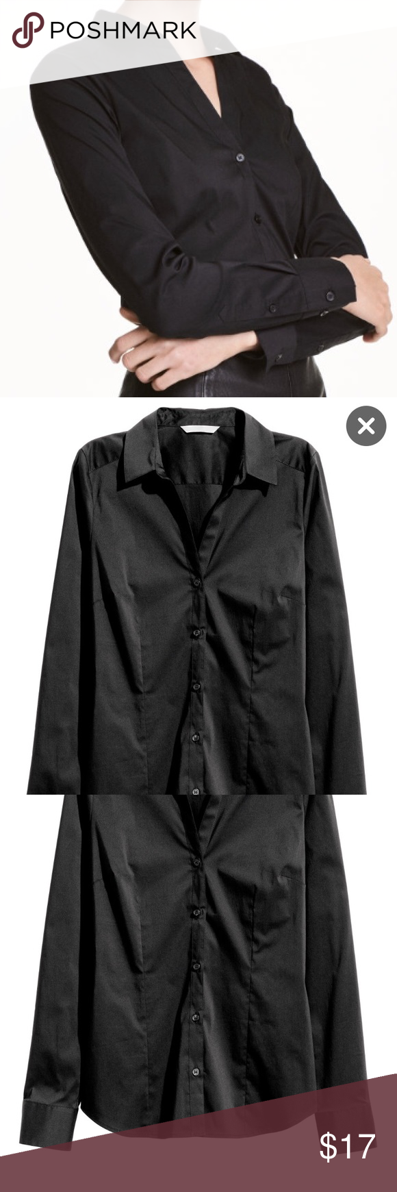 NWOT H&M Stretch Button Down Long Sleeved Shirt New without tags. Size 6. Stretch button down shirt - great for work or play! By H&M H&M Tops Button Down Shirts