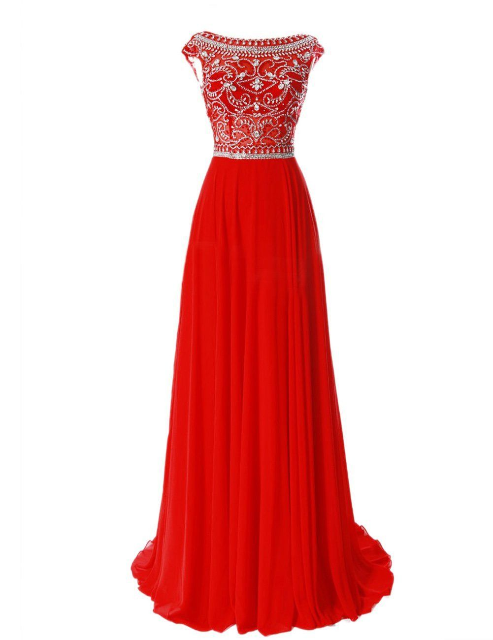 Red long chiffon silver beaded chiffon gown with cap sleeves