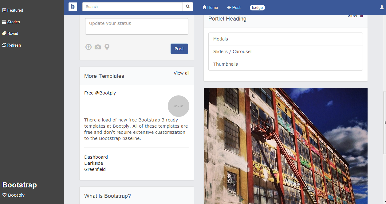 Facebook style collapsing sidebar Bootstrap Template. | Bootstrap ...