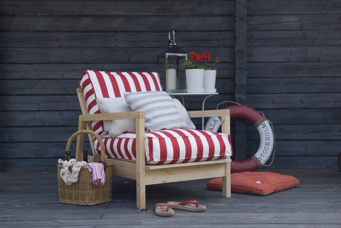 IKEA Lillberg armchair cover in Stockholm Stripe Real Red. www.bemz.com