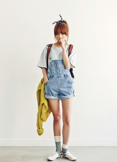 Girl overall outfit korea korean asian style teen tenage cool sneakers college backpack bag Korean fashion style shoes
