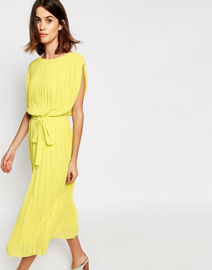 Casual and Dressy Casual Wedding Guest Dresses | Pleated midi dress ...