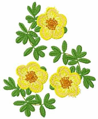 Yellow Flowers Free Machine Embroidery Design 3 Flowers Free