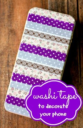 Use washitape to decorate an iphone or other cell phone for Washi tape phone case