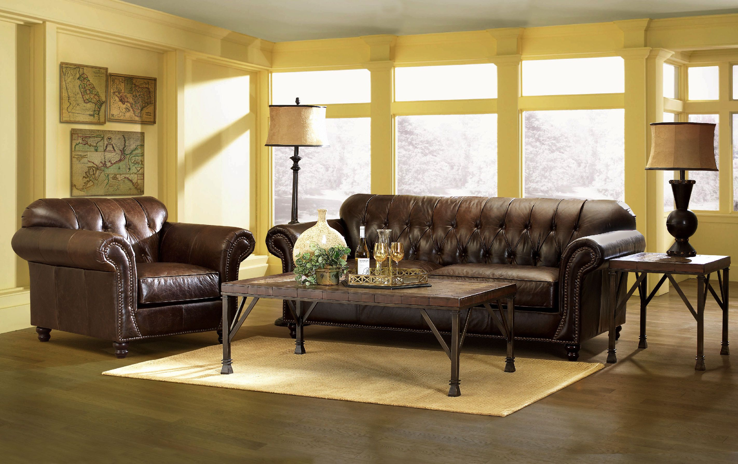 excellent midcentury tufted leather brown couches with shade - Living Room Leather Sofas
