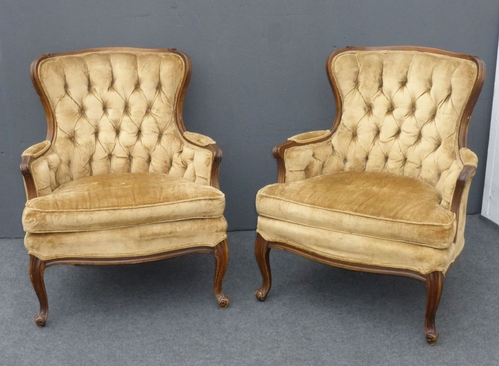 Pair Vintage French Provincial Tufted Light Brown Tan Velvet ACCENT CHAIRS  #FrenchCountryProvincial - Pair Vintage French Provincial Tufted Light Brown Tan Velvet ACCENT