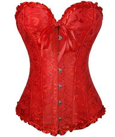 44312d6a25f Amazon.com  Zanuce Women s Sexy Satin Boned Lace Up Overbust Plus Size  Corsets…