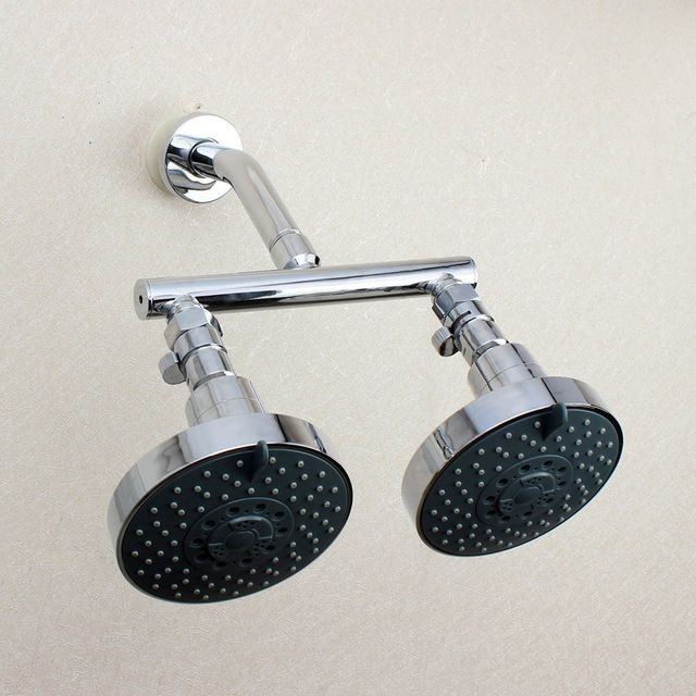 Dual Shower Head Manifold Tube Shower Arm With Fixed Showerheads Chrome With Flow Shut Off Valve For Diverter Control 03 013 Dual Shower Heads Shower Heads Shower Arm