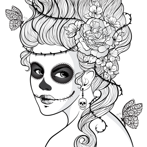 day of the dead girl dia de adult coloring and coloring books