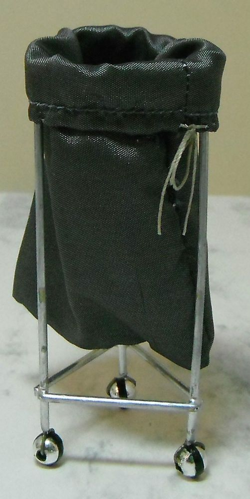 Doll Miniature Handcrafted Medical Laundry Basket Sack Stand 1