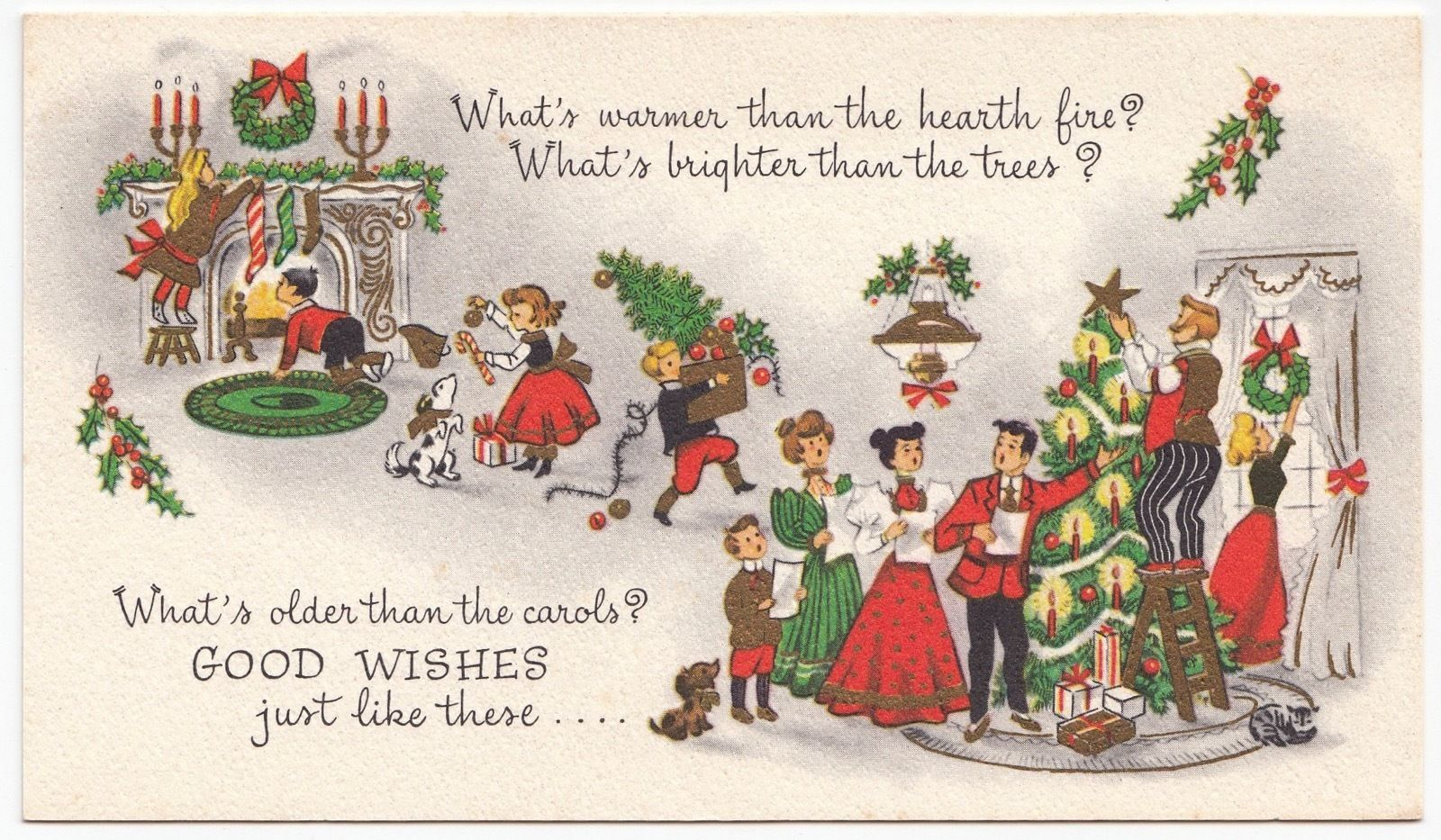 Vintage Greeting Card Christmas People Family Decorating Tree Old