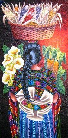 Mujer con canasto de maiz. Pintura de guatemal. Pedro Arnoldo Cruz Sunu.