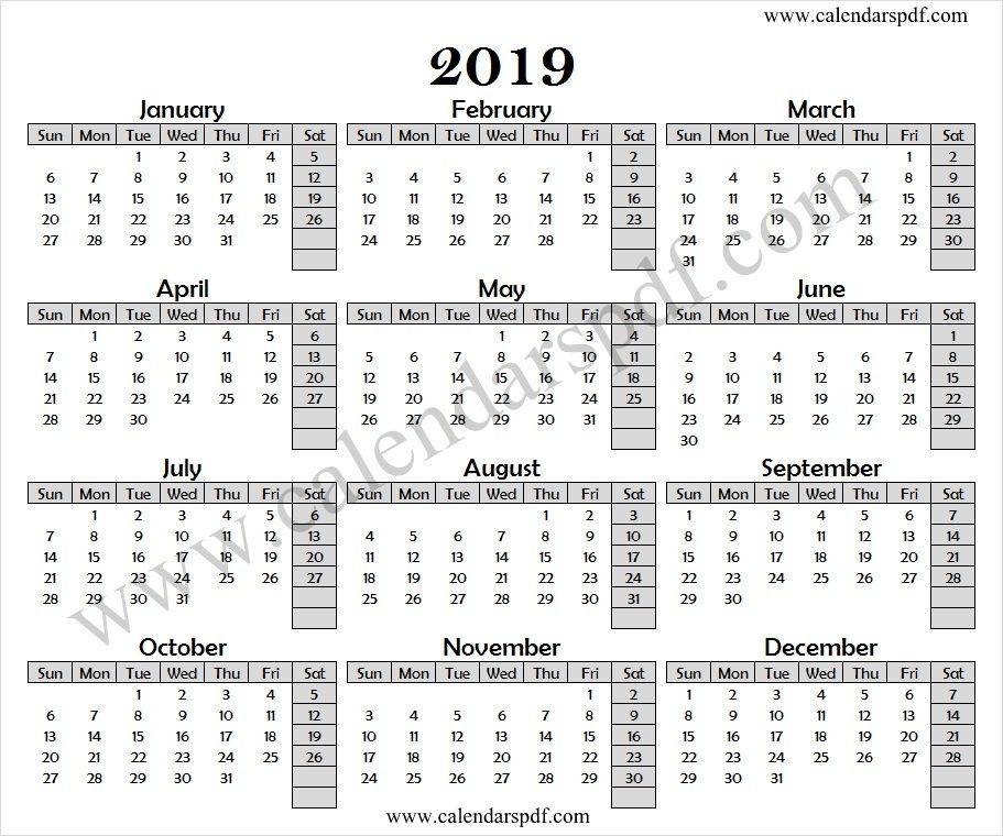 Calendar 2019 Excel 2019 Calendar Pinterest Calendar, Yearly