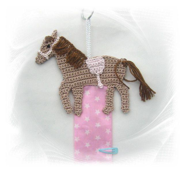 Haarspangenhalter Pferd, gehäkelt, crochet horse, hairclipholder ...